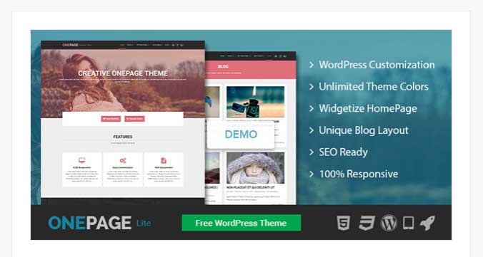 one page lite free wordpress theme