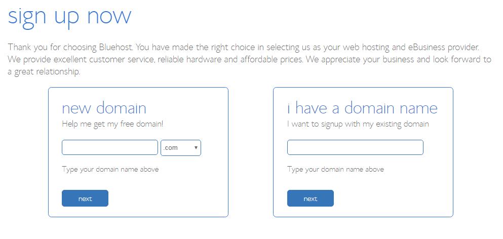 bluehost hosting start a blog
